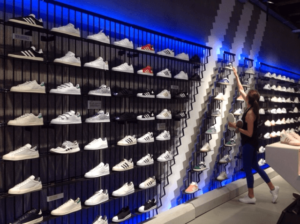 trainer racking in sportwear brand outlet