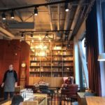 Caffe Nero Torsplan-interior with wooden banqette and bookcase