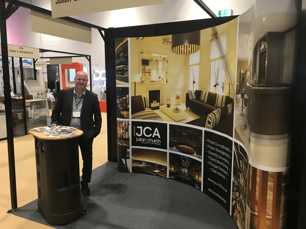 Hospitality Design & Hotel Show 2019 wide angle of the JCA stand