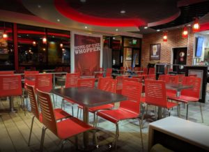 Burger King- interior view of restaurant seating area