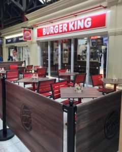 Burger King- exterior view of restaurant seating area