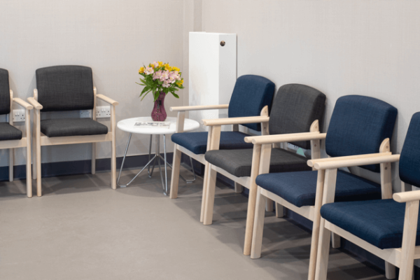 St Josephs Hospice waiting area view of chairs
