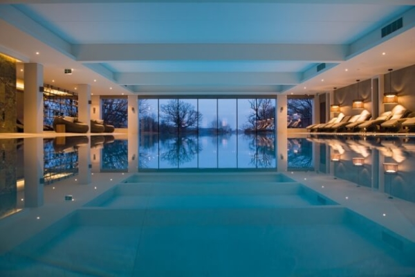 South Lodge view of the indoor pool at nightime