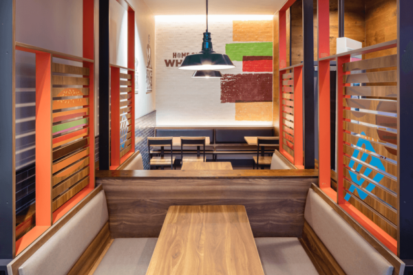 Burger King- interior view of restaurant banquette area